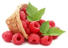 Fresh Raspberry. In a basket over white background Royalty Free Stock Photo