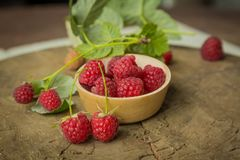Fresh raspberry. On a wooden background Stock Image