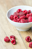 Fresh Raspberry Fruits. In White Bowl Stock Photography