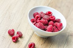 Fresh Raspberry Fruits. In White Bowl Royalty Free Stock Images
