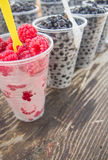 Fresh raspberry and huckleberry forest fruits Royalty Free Stock Image