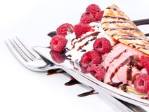 Fresh Raspberry ice cream Royalty Free Stock Images