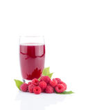 Fresh raspberry juice with fresh berries isolated. On white Stock Photos