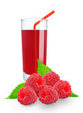Fresh raspberry juice. Raspberry juice in glass on white background Stock Image