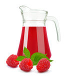 Fresh raspberry juice. Raspberry juice in a jug on white background Royalty Free Stock Photography