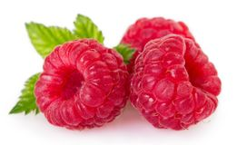 Fresh raspberry with leaf on white background stock image
