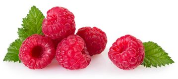 Fresh raspberry with leaf on white background stock photos