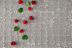 Fresh raspberry and leaves. Top view Stock Photo