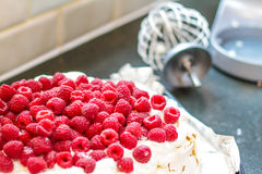 Fresh Raspberry Meringue. On the table with the whisk alongside Royalty Free Stock Photo
