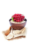 Fresh raspberry and oat flakes on white background. Healthy food Royalty Free Stock Photos