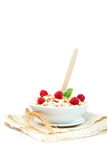 Fresh raspberry and Oatmeal flakes. Healthy food. Fresh raspberry and Oatmeal flakes isolated on white background. Healthy food Stock Photos