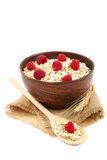 Fresh raspberry and Oatmeal flakes. Healthy food. Royalty Free Stock Photos
