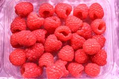 Fresh raspberry in a package. Fresh raspberry in plastic package on fruits stall. Ready for sales Royalty Free Stock Image