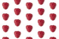 Fresh raspberry pattern isolated on white close-up.  Stock Photo