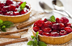 Fresh Raspberry Pies. Photograph of two freshly made raspberry pies Royalty Free Stock Images