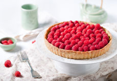 Fresh raspberry and pistachio cream tart. On a white textile background Stock Images