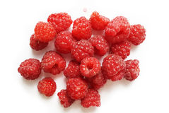 Fresh raspberry - red sweet berries on white background. Fresh raspberry -  red sweet berries on white background Royalty Free Stock Photography