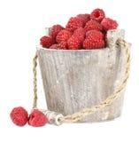 Fresh raspberry. Ripe gooseberry in wooden bucket on white Fresh raspberry in the wooden bucket Royalty Free Stock Photo