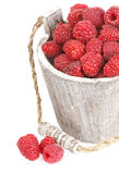 Fresh raspberry. Ripe gooseberry in wooden bucket on white Fresh raspberry in the wooden bucket Royalty Free Stock Photos