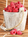 Fresh raspberry. Ripe gooseberry in wooden bucket on white Fresh raspberry in the wooden bucket Stock Images