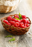 Fresh raspberry. In rustic basket Royalty Free Stock Image
