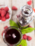 Fresh Raspberry Sirup. Fresh made Raspberry Sirup with fresh fruits (close-up shot Stock Photography