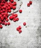 Fresh raspberry on table . On a stone background Royalty Free Stock Photos