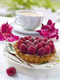 Fresh raspberry tart. A fresh raspberry tart on a plate and cup of coffee in background Stock Photography