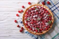 Fresh raspberry tart with cream cheese. horizontal top view Stock Images