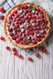 Fresh raspberry tart with cream cheese. vertical top view. Fresh raspberry tart with cream cheese and mint. vertical top view Stock Images
