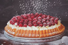 Fresh Raspberry Tart with Lemon Filling. Raspberry and lemon cream tart with flaked almonds and fresh raspberries on top. Macro, selective focus, vintage toned Stock Photos