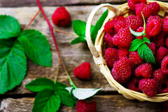 Fresh raspberry in to the basket. Style rustic. selective focus Stock Photo