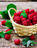 Fresh raspberry in to the basket. Style rustic. selective focus Royalty Free Stock Images