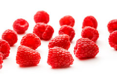 Fresh raspberry on white background. In closeup Royalty Free Stock Image