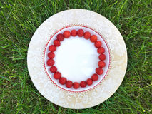 Fresh raspberry in a white plate. On green grass, summer time, round smile shape Stock Photography