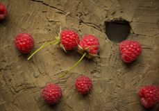 Fresh raspberry. On a wooden background Stock Photography