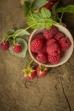 Fresh raspberry. On a wooden background Royalty Free Stock Image