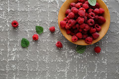 Fresh raspberry in wooden bowl. Above Royalty Free Stock Photography