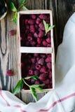 Fresh raspberry in wooden box Stock Photography