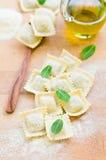 Fresh Ravioli. Home made ravioli covered with flour Stock Photography