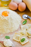 Fresh Ravioli. Home made ravioli covered with flour Royalty Free Stock Photo