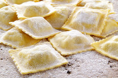 Fresh ravioli handmade whit spinach end ricotta Stock Image