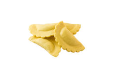 Fresh Ravioli Pasta. Half Moon Shape. Fresh Ravioli Pasta isolated on white background. Half Moon Shape Stock Photo