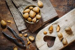 Fresh raw almonds. Fruits in autumn season Royalty Free Stock Image