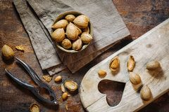 Fresh raw almonds. Fruits in autumn season Stock Images