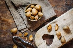 Fresh raw almonds. Fruits in autumn season Stock Photos