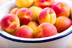 Fresh raw apricots. In a bowl Stock Photography