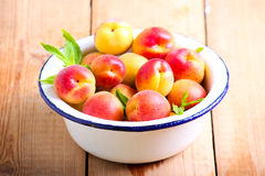 Fresh raw apricots. In a bowl Stock Images