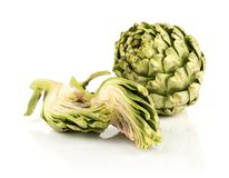 Fresh raw Artichoke flower isolated on white stock photography