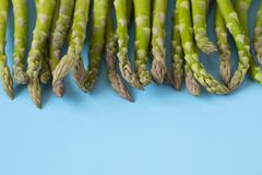 Fresh  raw asparagus on light blue background. Fresh  raw asparagus on light blue background, copy space Stock Photo